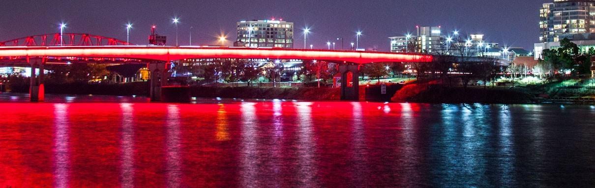 Lighted Bridge over Arkansas River