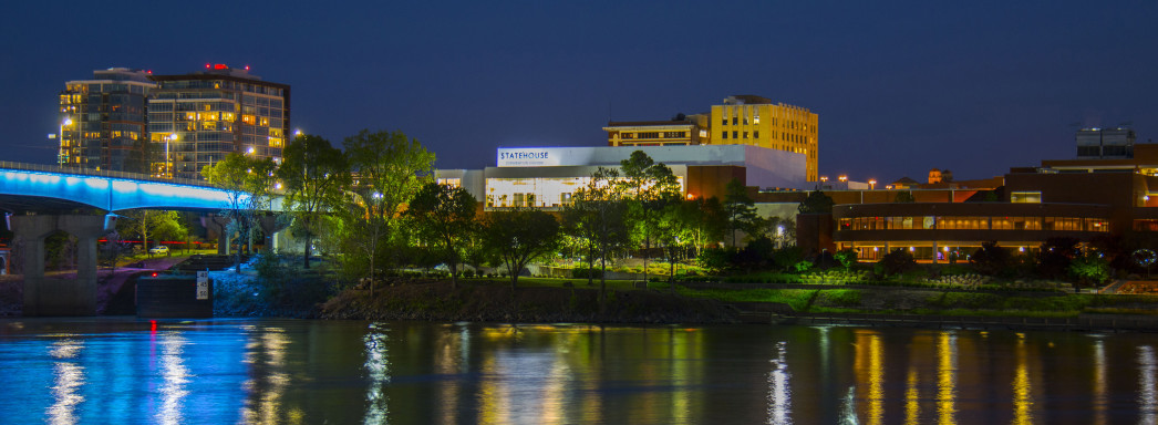 Statehouse Convention Center in Little Rock at night.