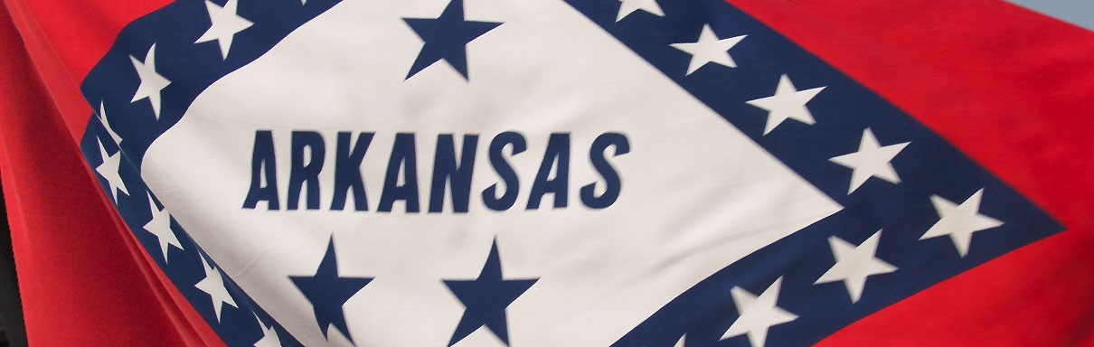 This is the Arkansas State Flag. Red White and Blue.